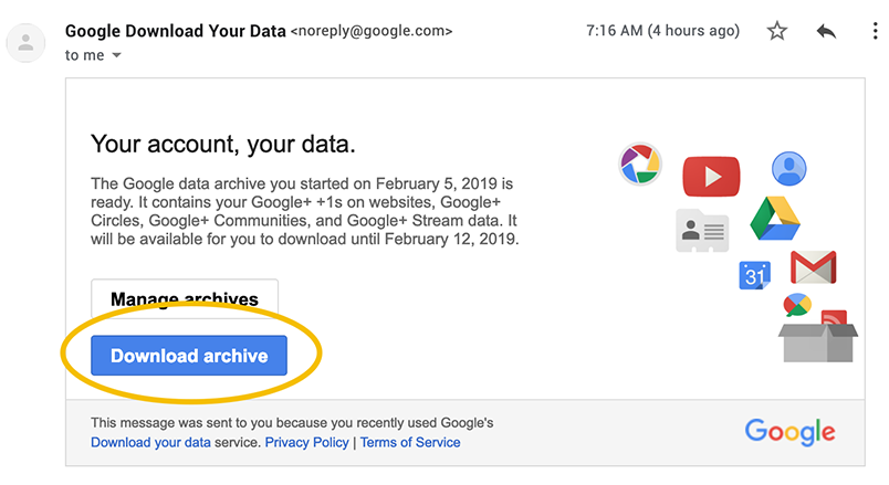 google plus download your data